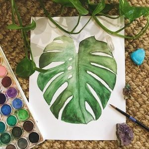 🔥 SALE Monstera watercolor green print 8x10